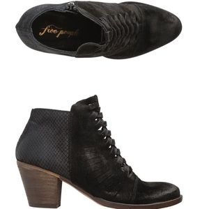 Free People Black Suede Leather Ankle Boots Heels